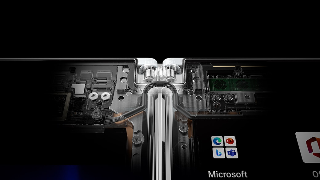 A close up of Surface Duo 2 internal spine hardware.