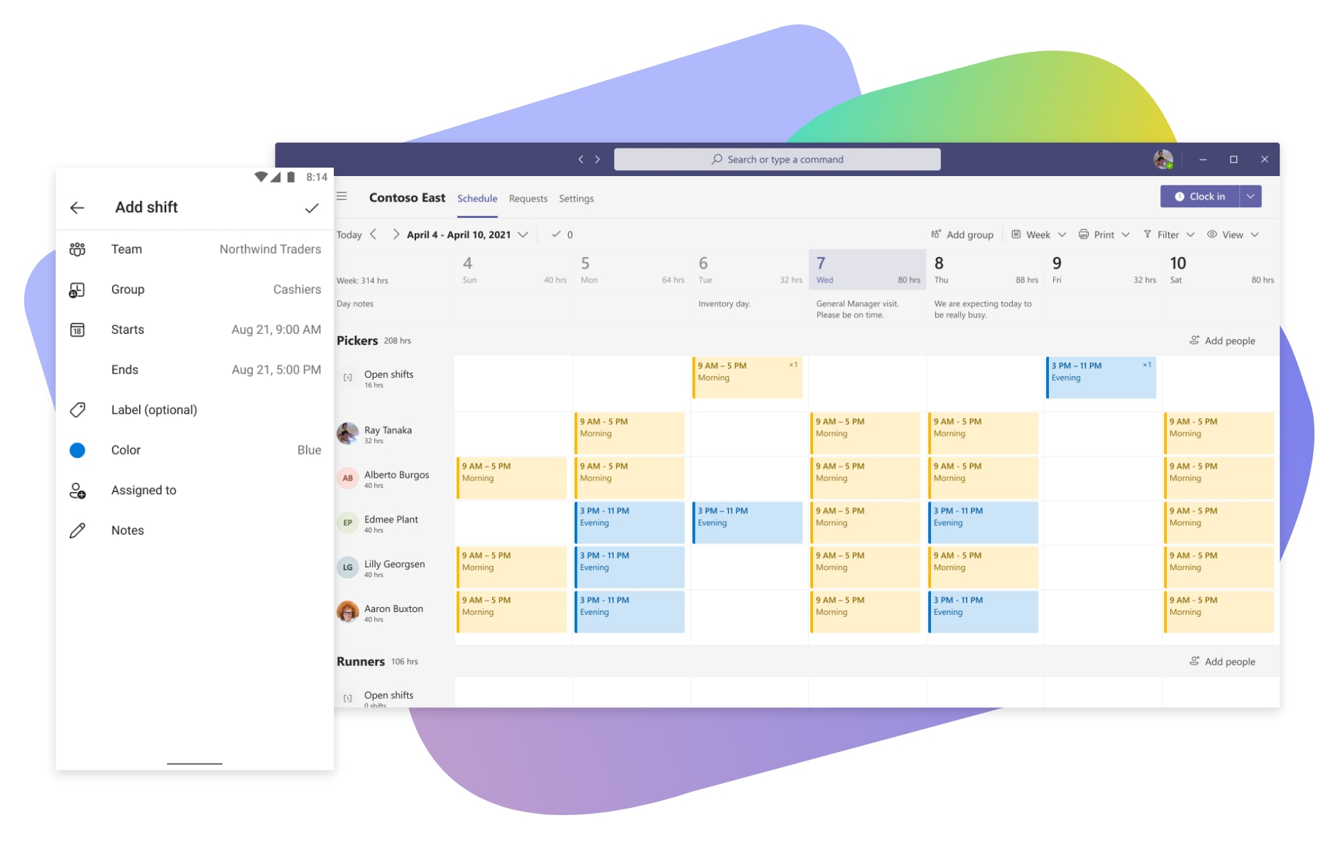 A shift schedule and the add shift screen in Teams.