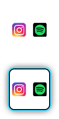 Instagram and Spotify logos.