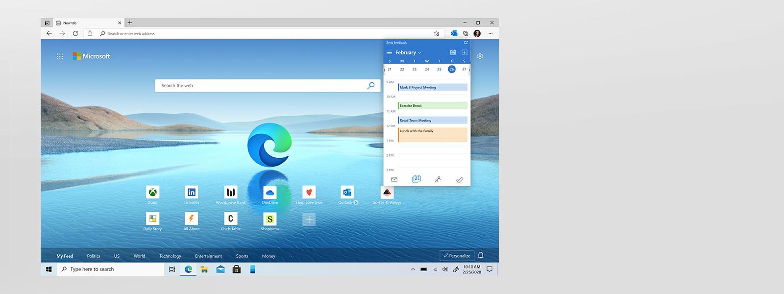 Microsoft Edge-Browserbildschirm, der die Funktionen der Outlook-Erweiterung anzeigt