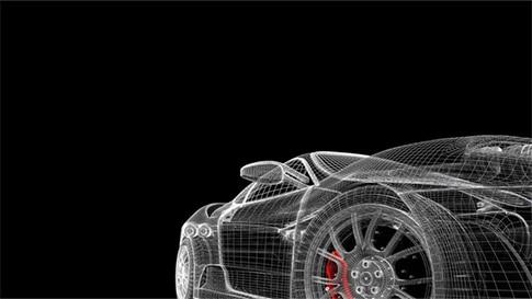 Dreidimensionales Modell eines Sportwagens aus feinen weißen Linien auf einem schwarzen Hintergrund.