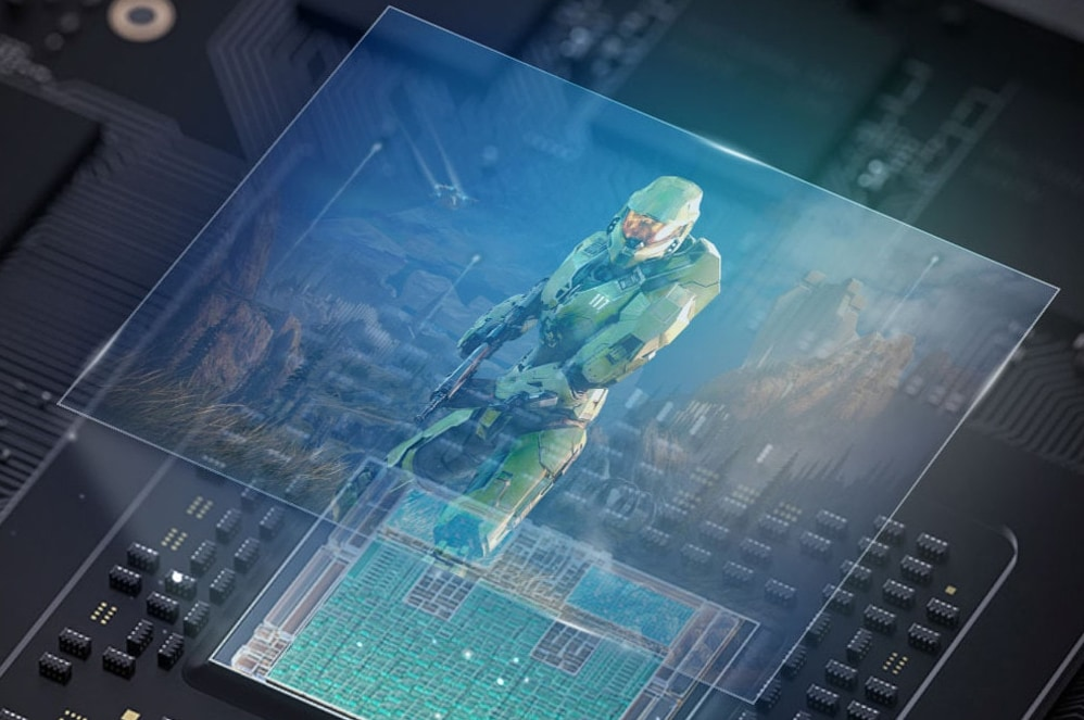 Master Chief projected from the Xbox Series X chip.