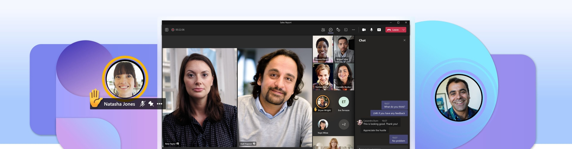 A desktop display of a Teams video call with 11 participants and the text chat open on the right.