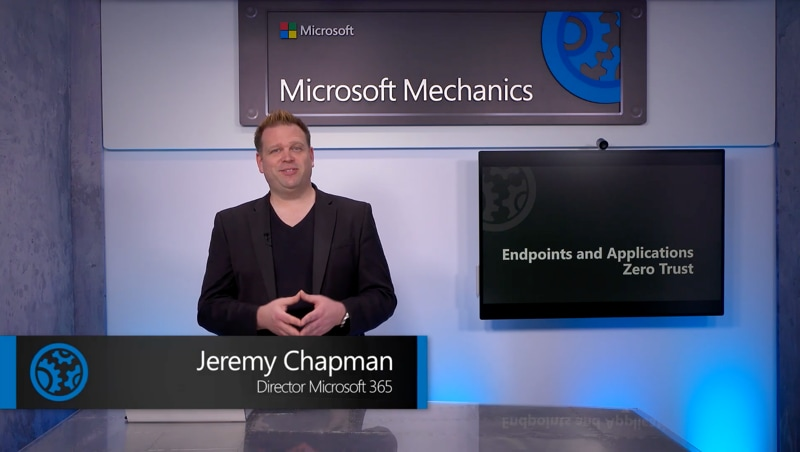 Jeremy Chapman, Director at Microsoft 365 in a filming studio in front of a screen that says Endpoints and Applications Zero Trust.