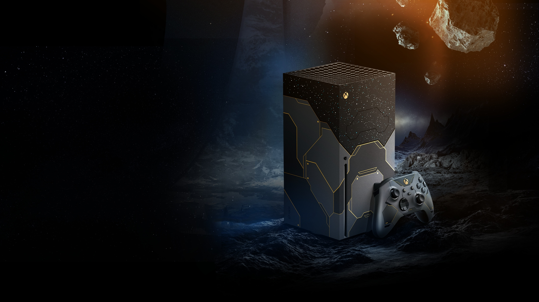 Xbox Series X – Halo Infinite Limited Edition Bundle with Master Chief in space planet environment