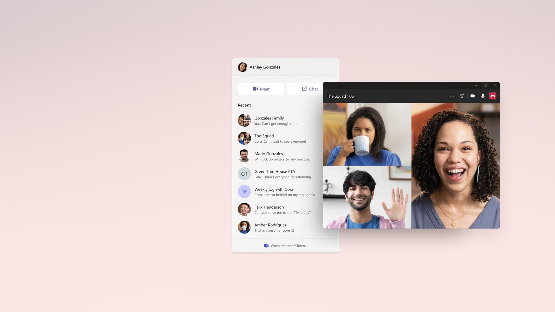 Microsoft Teams uygulaması sohbet ve video penceresi