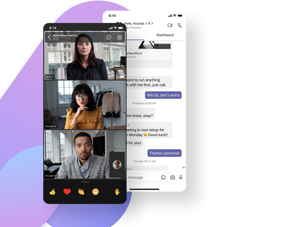 A mobile display of a Teams video call with four participants and the corresponding chat.