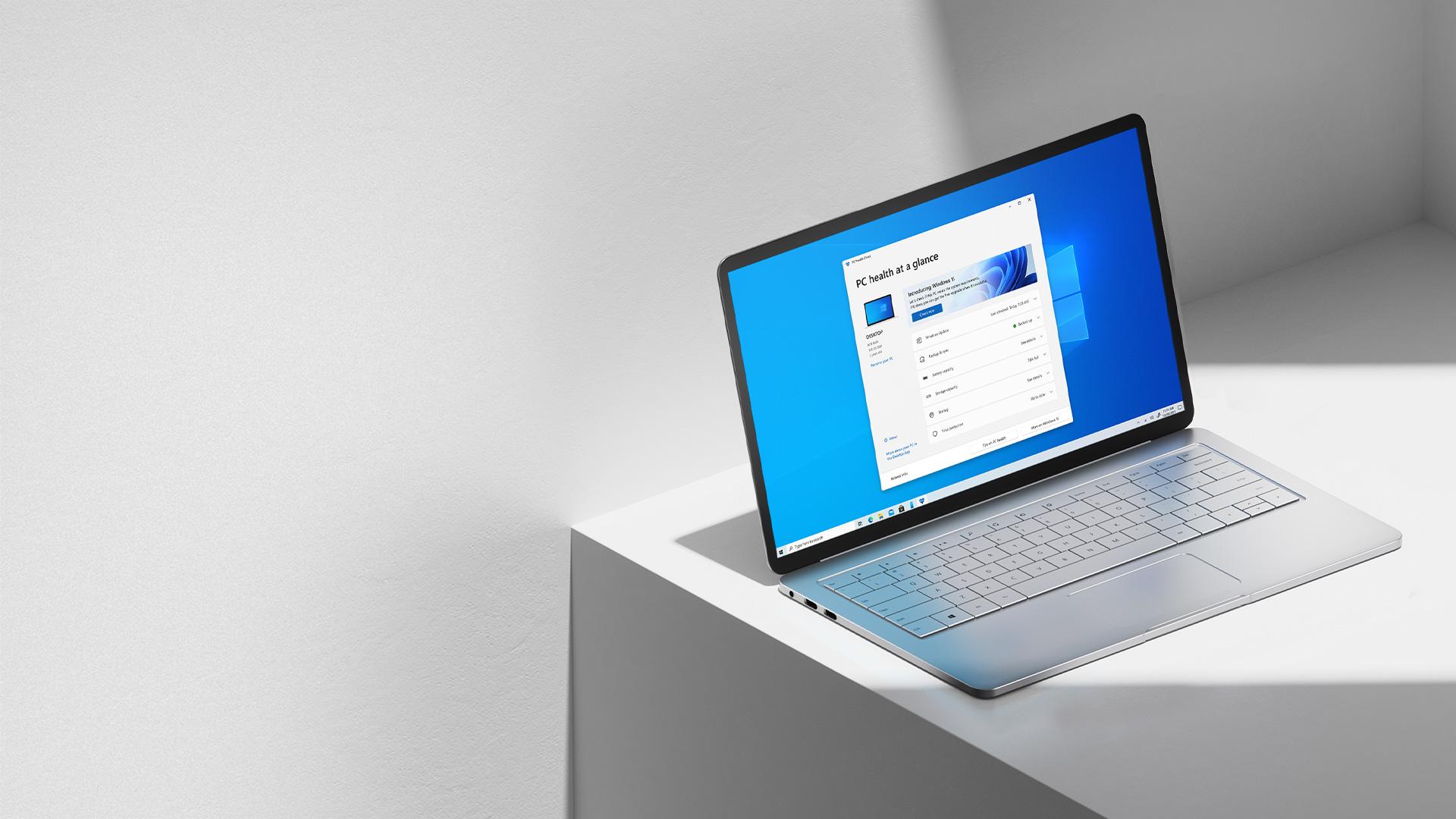 PC-Zustand auf einen Blick, Fenster auf einem Laptop