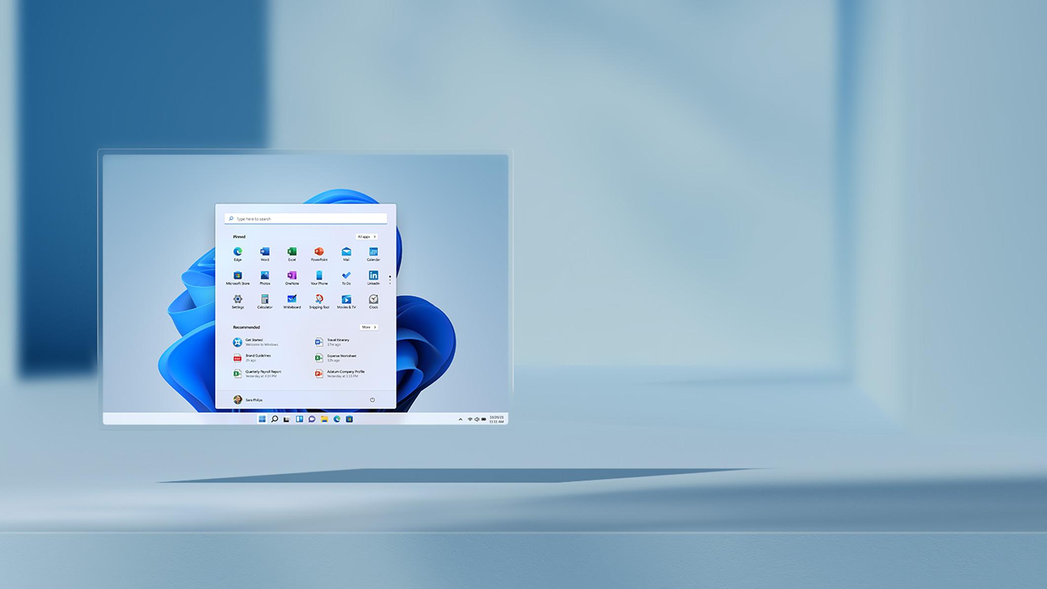 Écran Windows11 avec icônes épinglées et recommandées
