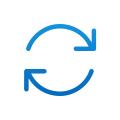 Icône bleue avec des flèches circulaires