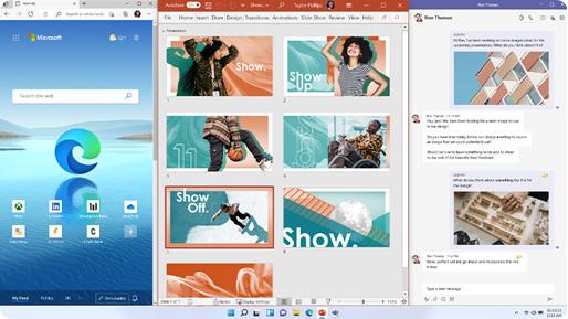 Écrans des fonctionnalités disponibles sur Windows11