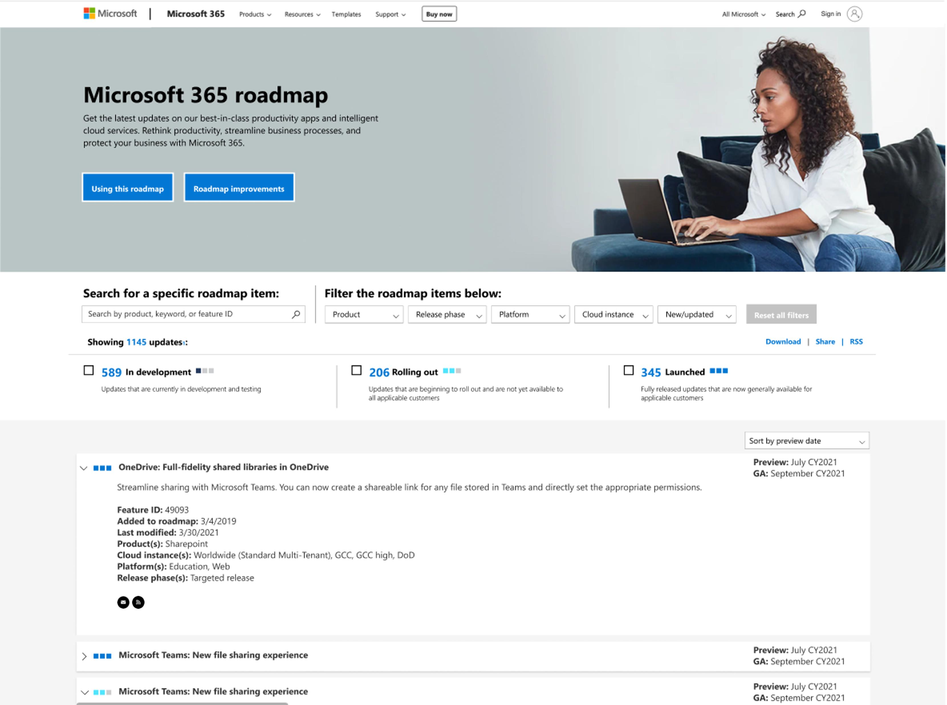Microsoft 365 roadmap site updates