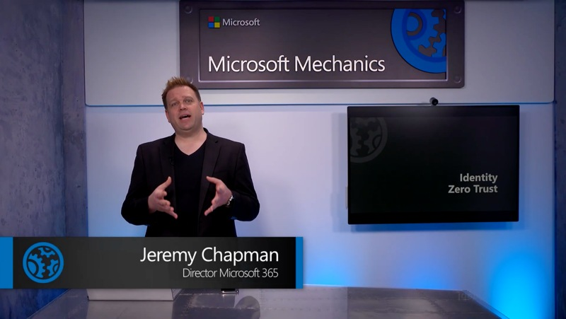Jeremy Chapman, Director at Microsoft 365 in a filming studio in front of a screen that says Identity Zero Trust.