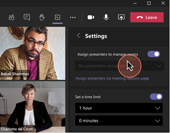 Presenter support toggle in Breakout Room settings