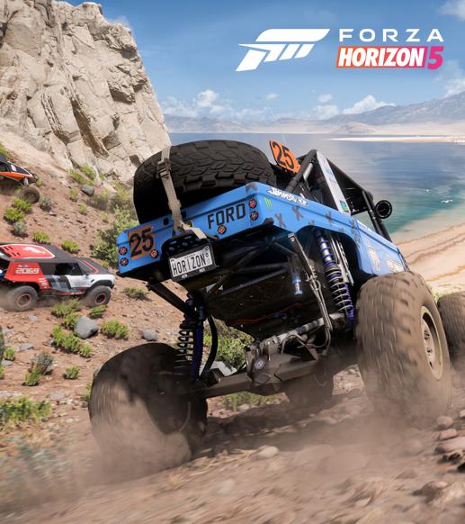 Forza Horizon 5 video oyunu dört tekerlekli araçların olduğu sahne