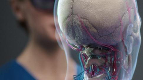 Das Bild zeigt die HoloLens Darstellung eines Menschen.