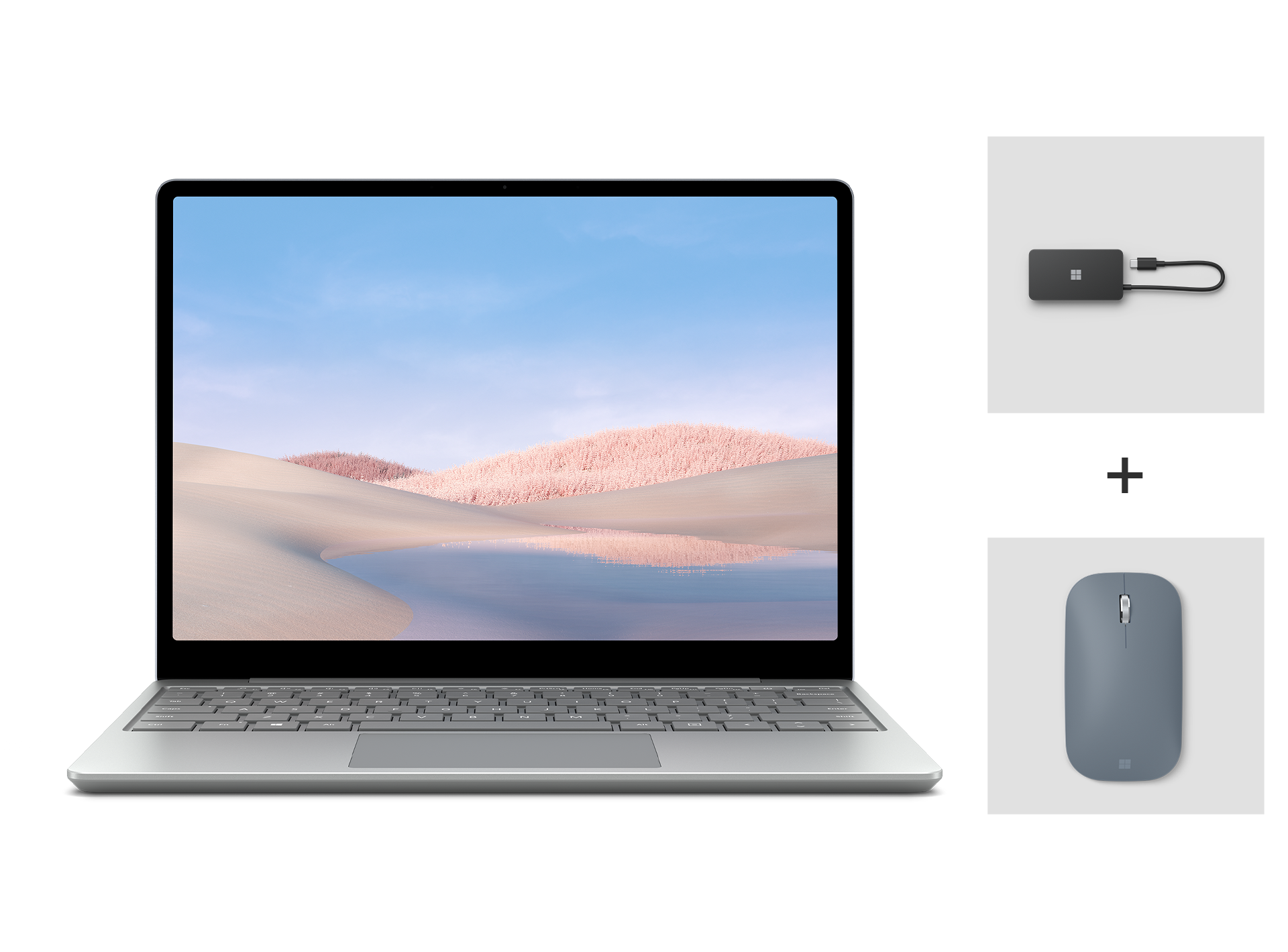 A Laptop Go for Business + USB-C Travel Hub for Business + Surface Mobile Mouse for Business