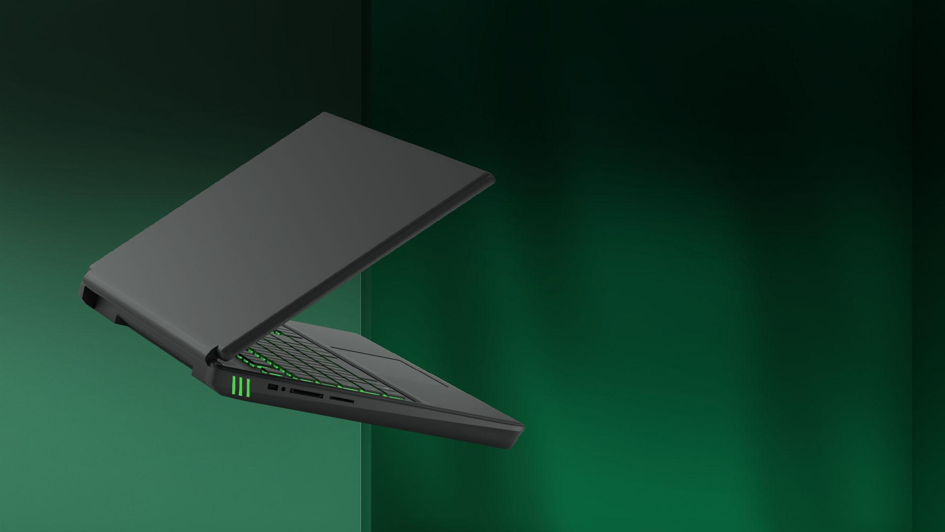 開かれて空中に浮かんでいるノート PC