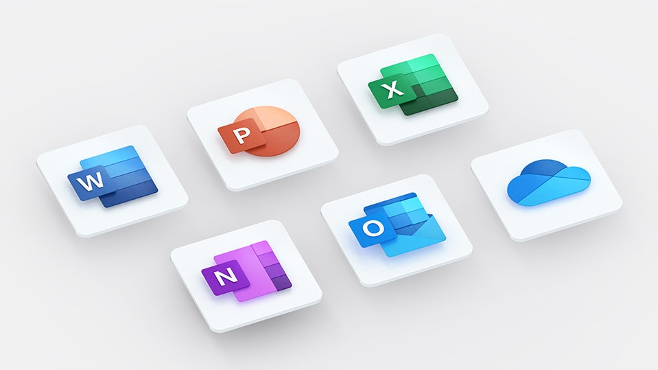 Office app icons for Word, Excel, PowerPoint, OneNote, Outlook, and OneDrive.