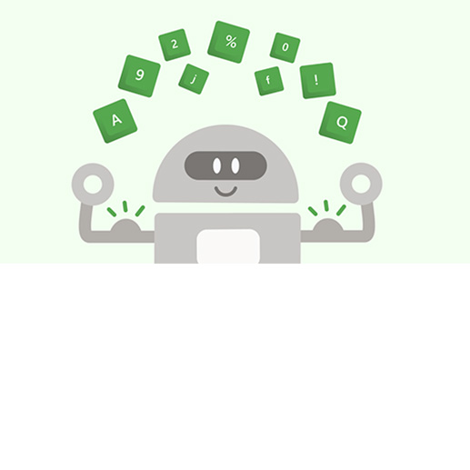 Illustriertes Zeichen mit grünen Buchstaben-, Zahlen- und Symboltasten