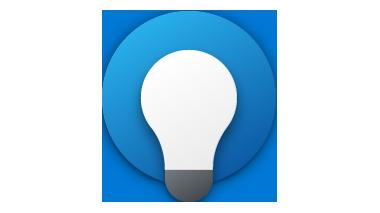 Glühbirne mit blauem Kreis drumherum