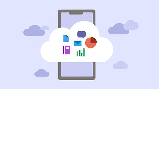 Handyillustration mit Cloud und Apps in der Cloud