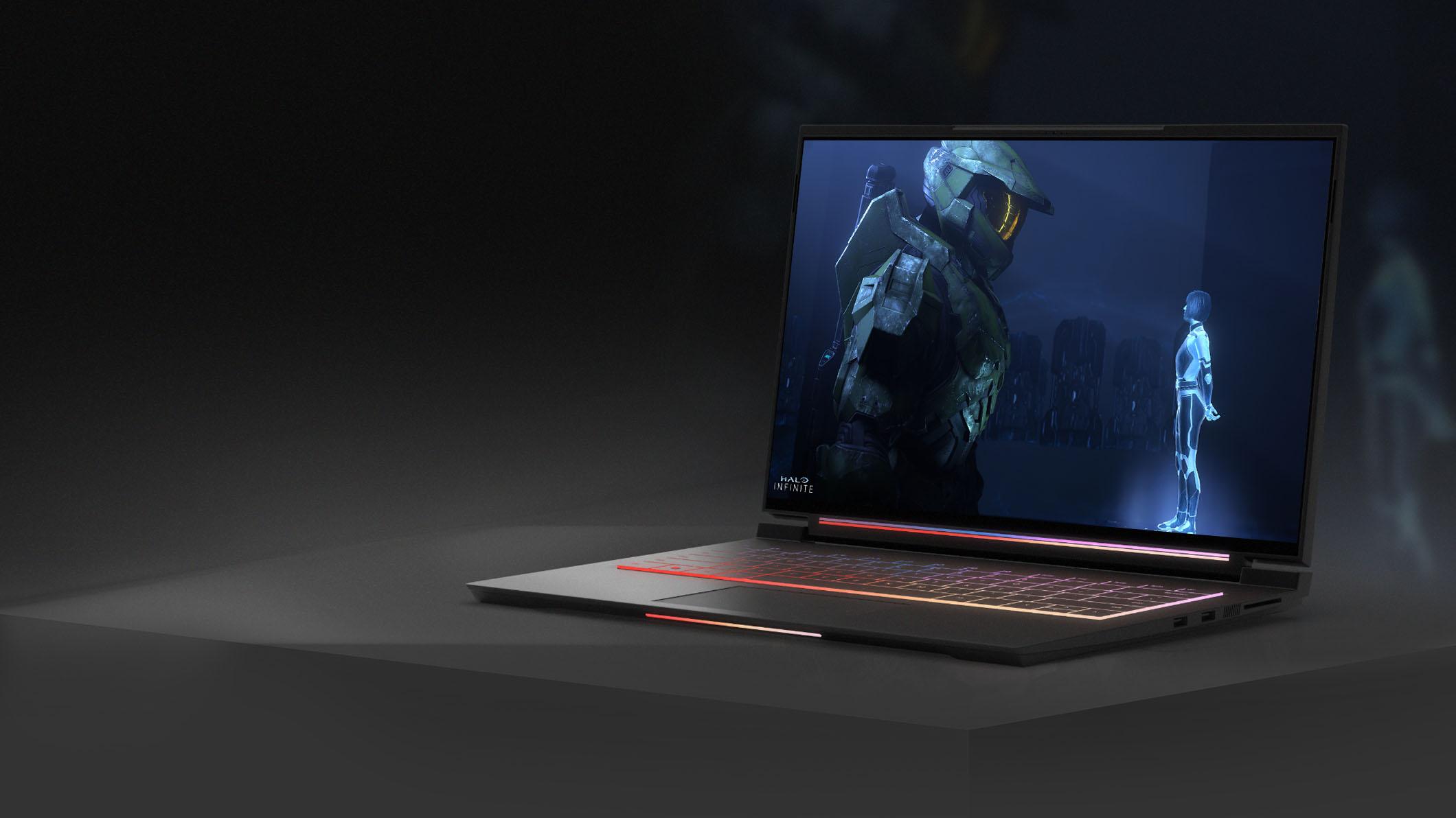 ノート PC の画面に映るビデオゲームのキャラクター