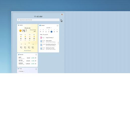 Wettervorhersagefenster mit geöffnetem Dialogfeld zum Anpassen des Widgets