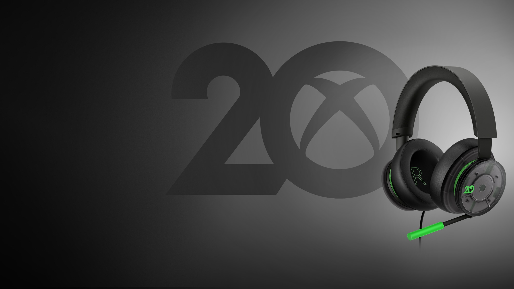 Xbox-stereoheadset – 20th Anniversary Special Edition op een groene achtergrond met datums