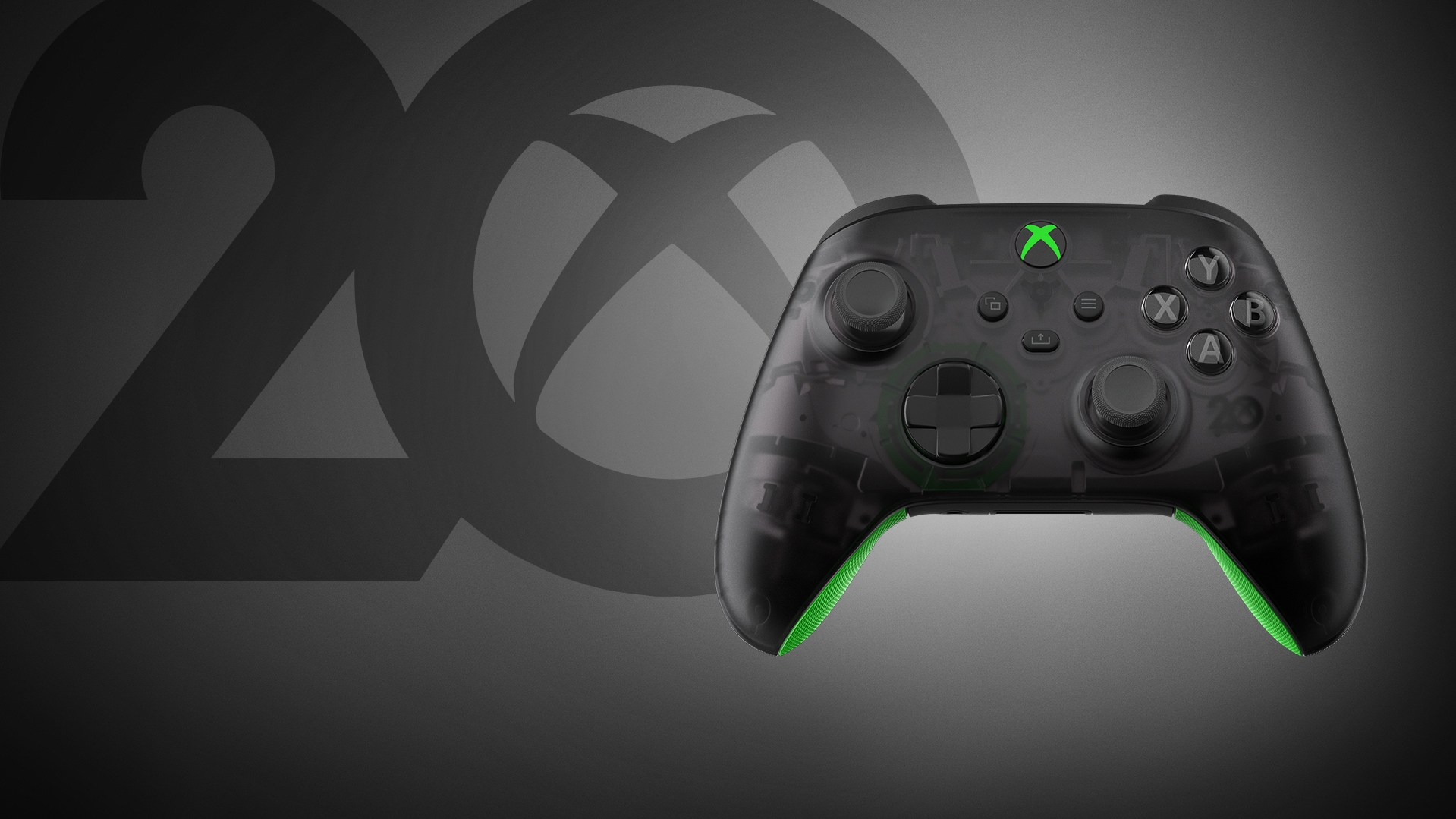 Xbox Wireless Controller – 20th Anniversary Special Edition on a green background with the past 20 year dates