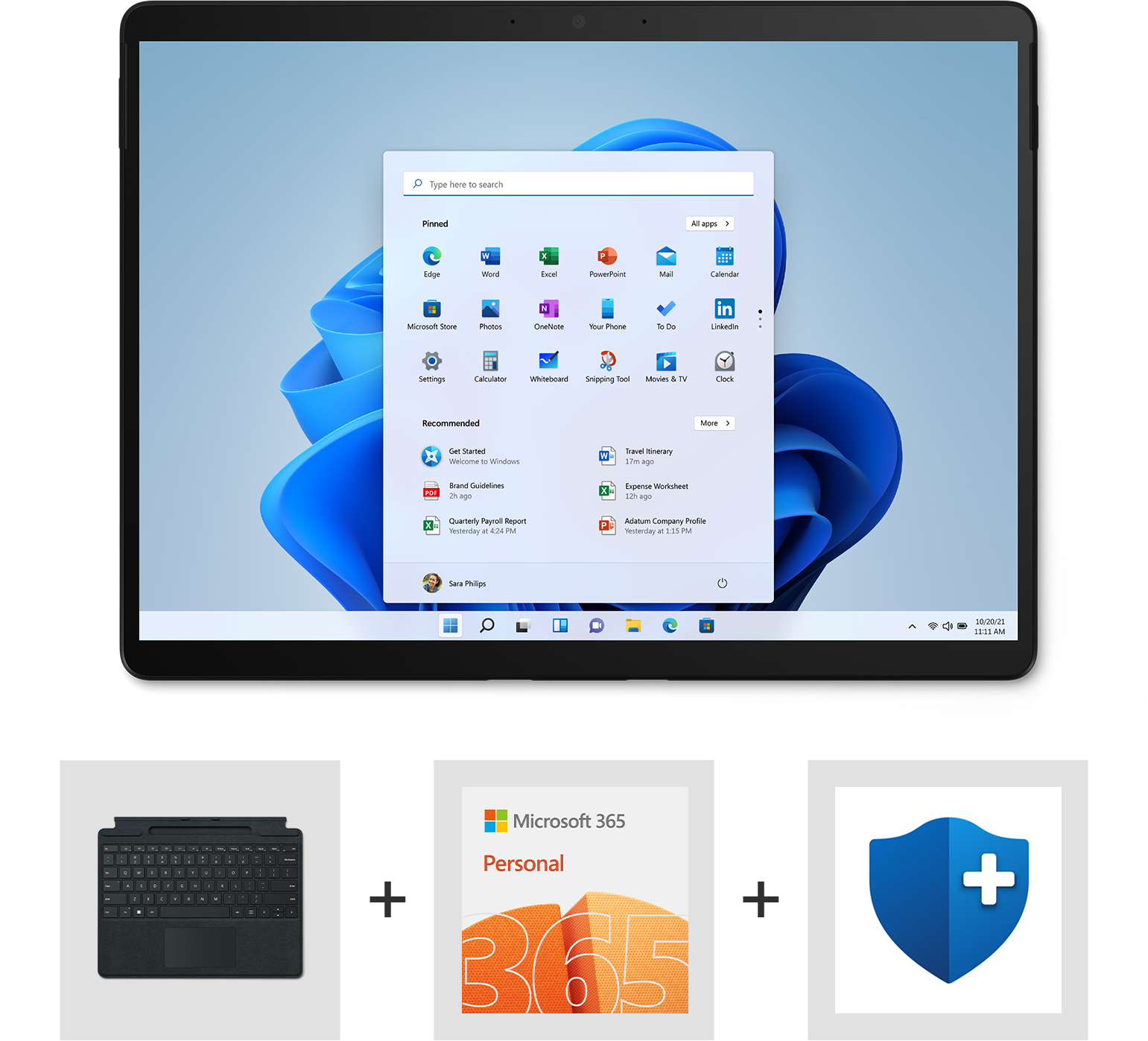 Surface Pro 8, Surface Pro Signature Keyboard, and icons for Microsoft 365, and Microsoft Complete Protection Plan.