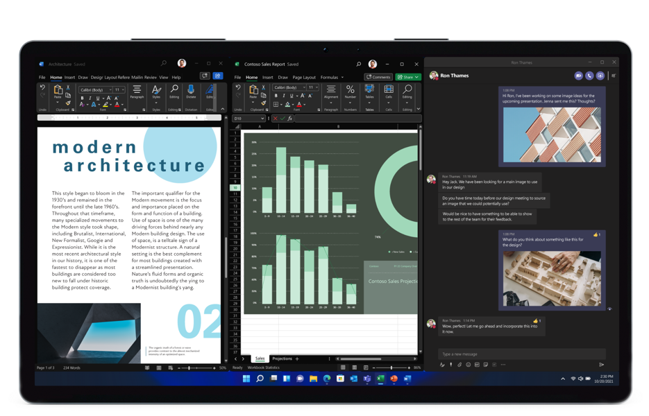 A tablet running Windows 11 displaying a split screen of three apps in use simultaneously.