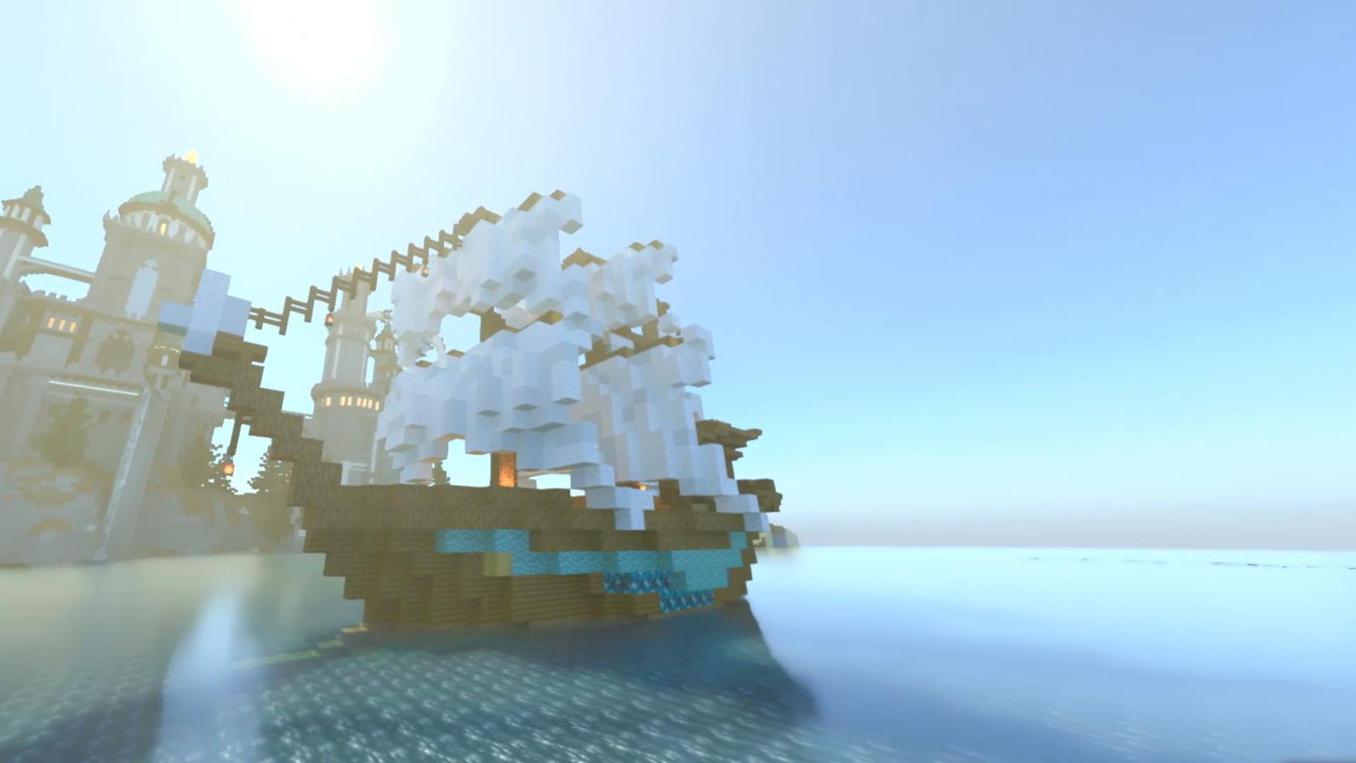 ピクセルで描いた白い帆の船