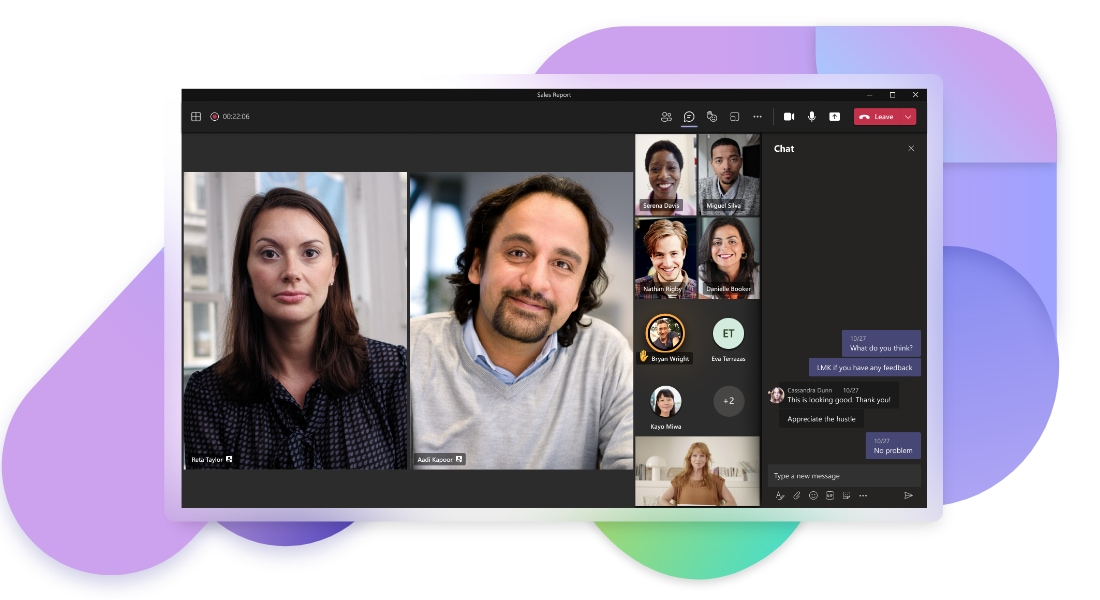 A Teams video call with 7 participants with video, 5 participants without video and the text chat open on the right.