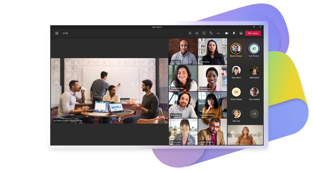 A Teams video call where some participants are joining together from a conference room and others are joining from home.