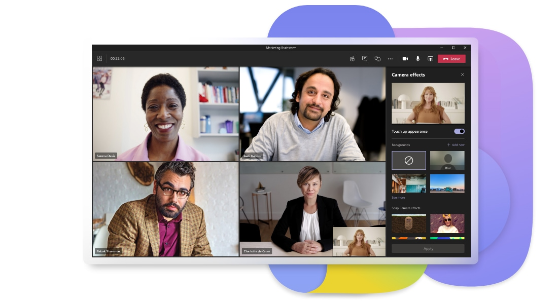 A Teams video call where some of the participants have chosen to blur their background and the options to change the background are displayed on the right.