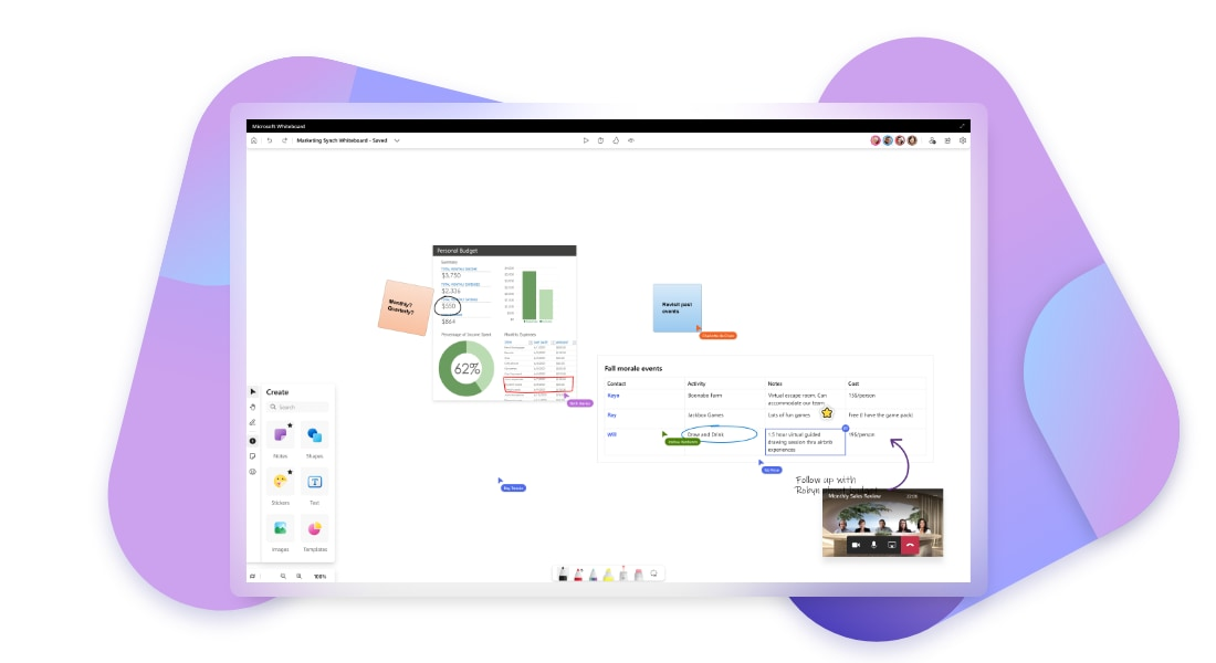 A virtual whiteboard being collaborated on during a Teams video call in Together mode.