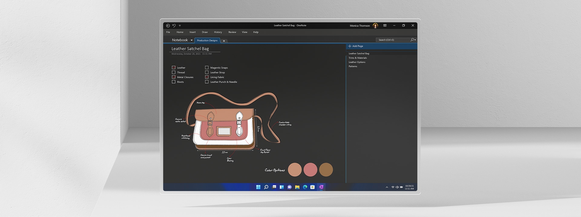 Οθόνη του Microsoft OneNote