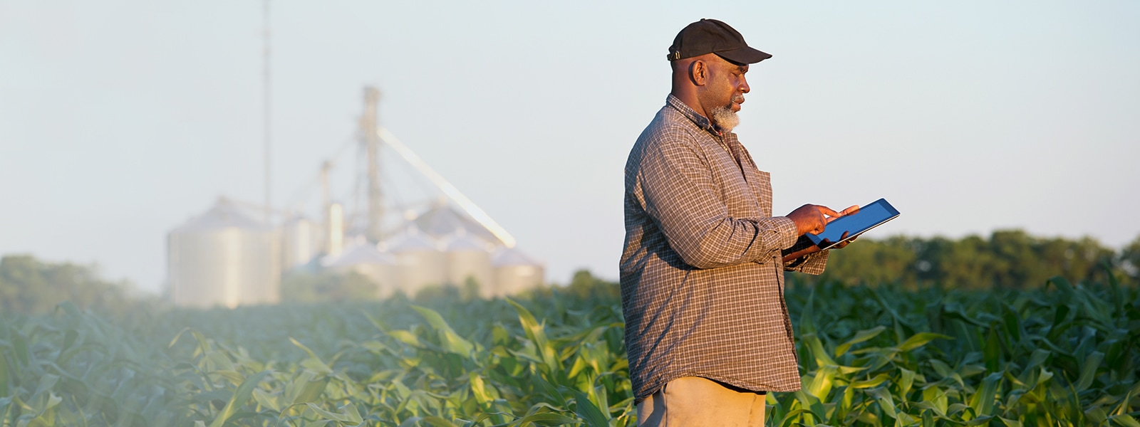 Farmer holding a digital tablet in a crop field.
