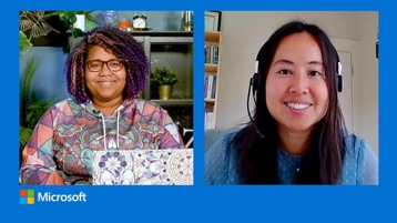 Split screen with Mei Lau and Jameela Roland smiling at the screen.