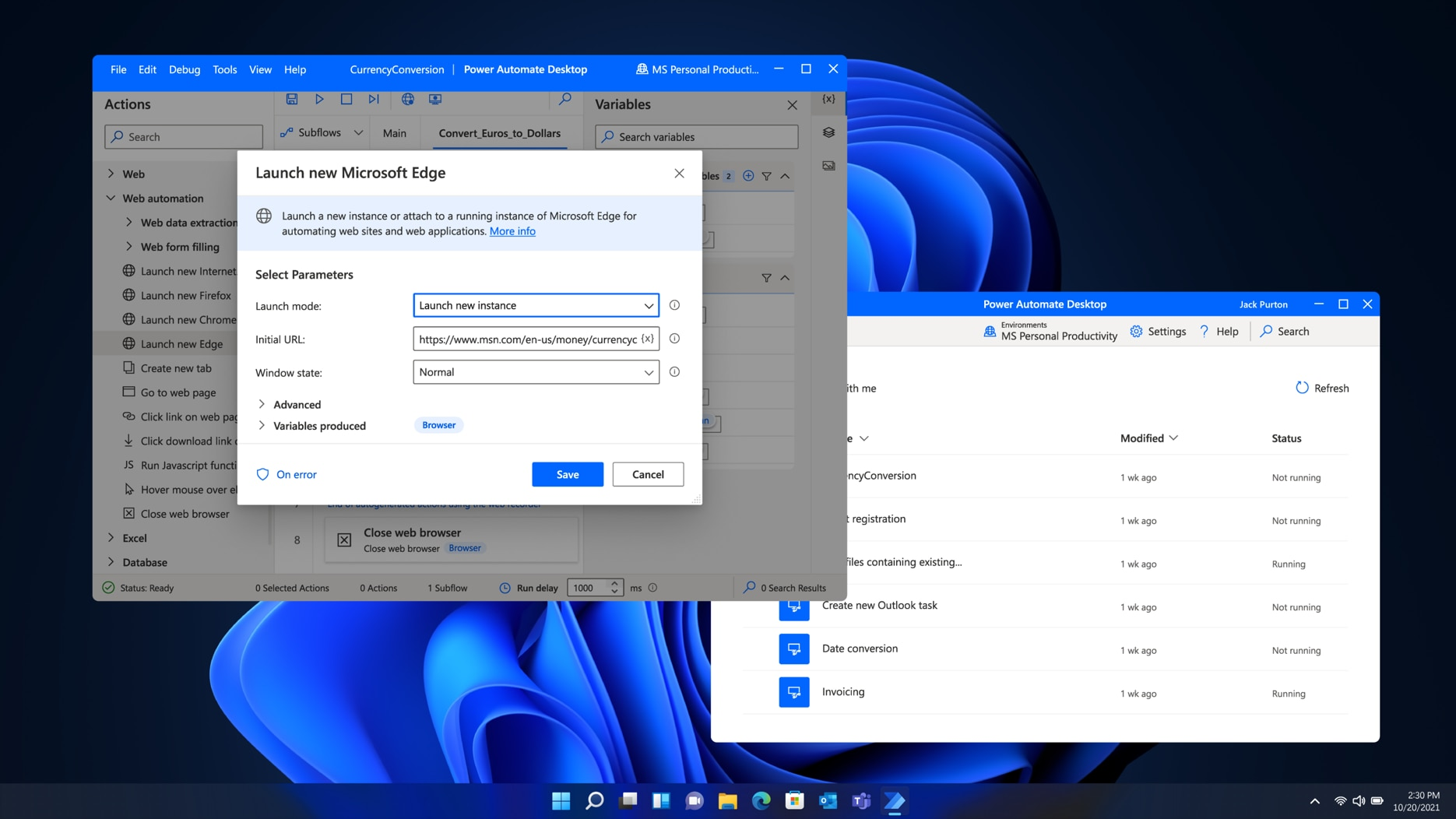 Two windows being run in Windows 11, one showing a new instance of Microsoft Edge being launched and one showing a Power Automate Desktop.