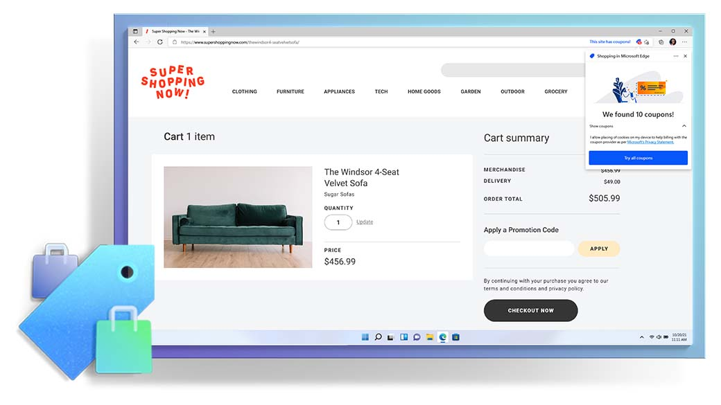Microsoft Edge browser window showing a shopping webpage and Coupons feature