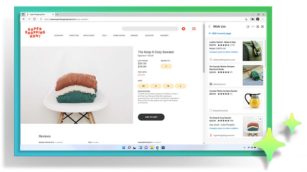 Microsoft Edge browser window showing a shopping webpage and Collections feature