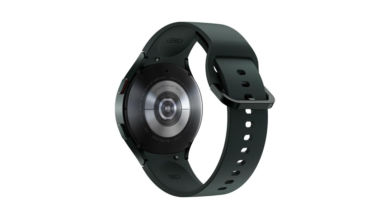 Rear view of Samsung Galaxy Watch 4 Aluminum L T E 44 millimeters Green.