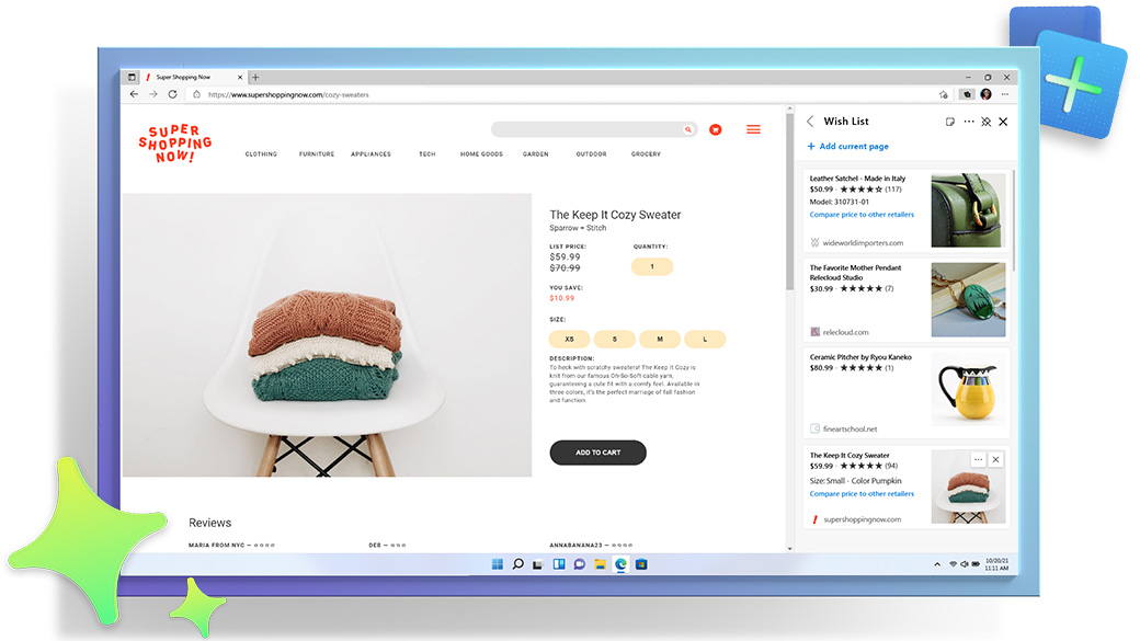 Microsoft Edge browser window, showing a shopping webpage with the Collections feature