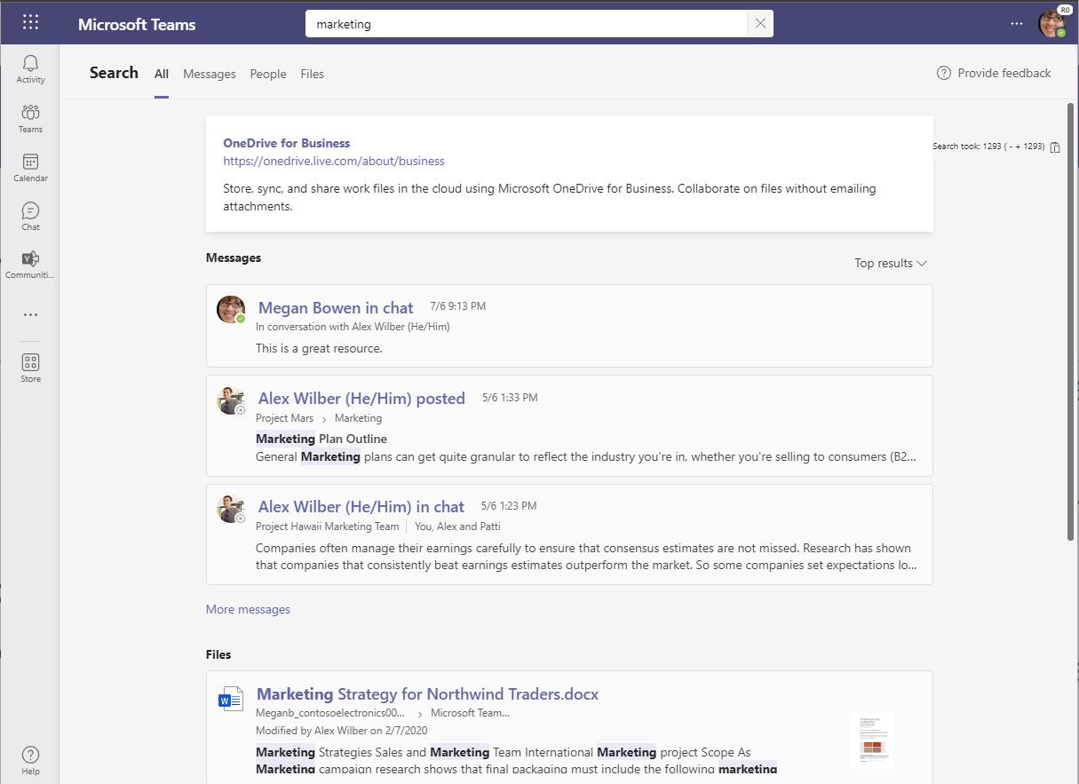 Nové vyhledávání v Microsoft Teams