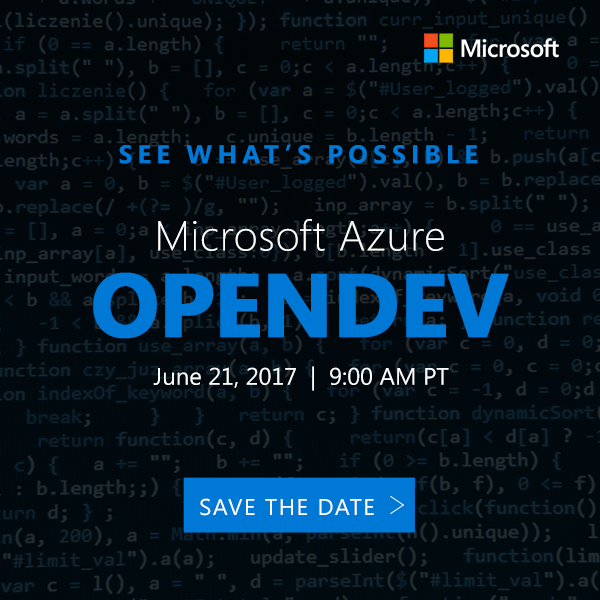 Join us for Microsoft Azure OpenDev