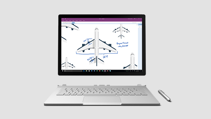 Surface Book detatched from keyboard and Surface Pen