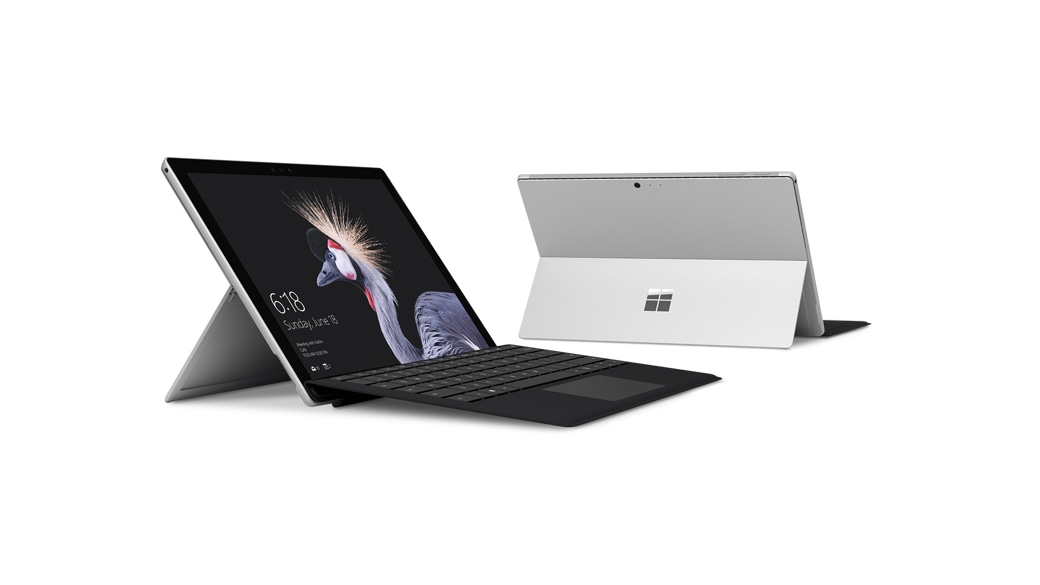 Surface Pro with a black type cover with fingerprint ID reader