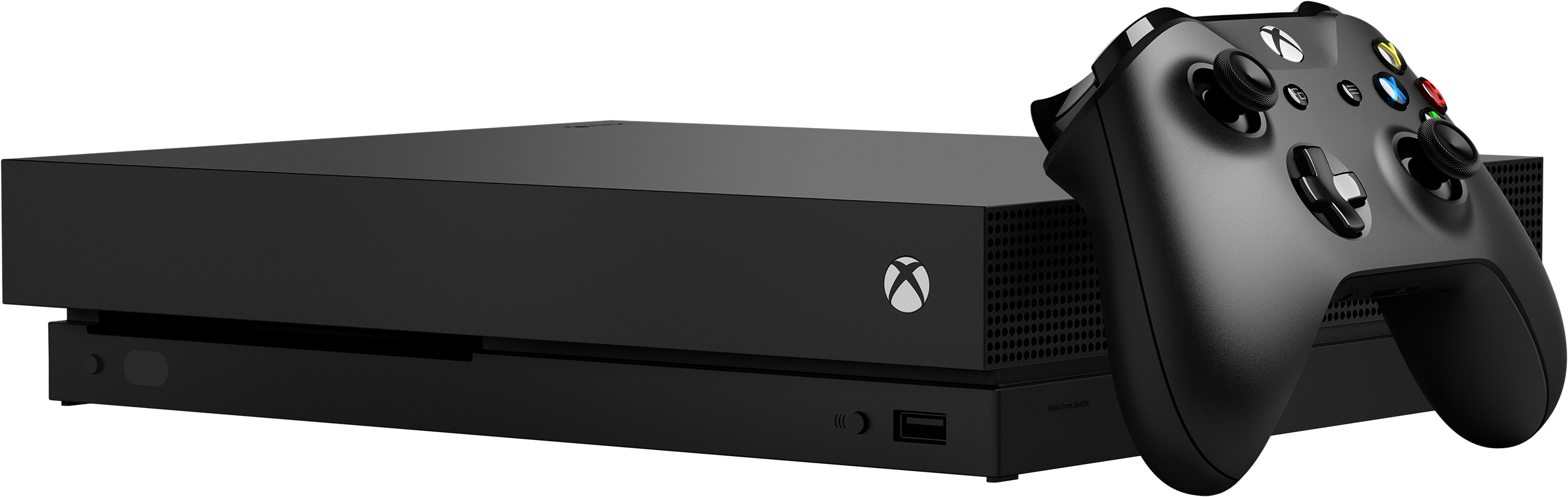 Front of Xbox One X console with controller